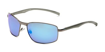 Angle of Cassian in Grey Frame with Blue Mirrored Lenses, Men's Square Sunglasses