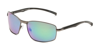 Angle of Cassian in Grey Frame with Blue/Green Mirrored Lenses, Men's Square Sunglasses