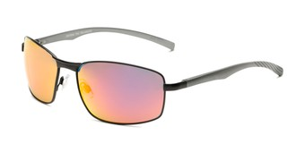 Angle of Cassian in Black Frame with Red/Orange Mirrored Lenses, Men's Square Sunglasses