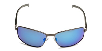 Front of Cassian in Grey Frame with Blue Mirrored Lenses