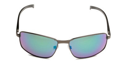 Front of Cassian in Grey Frame with Blue/Green Mirrored Lenses