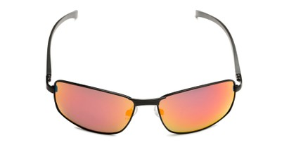 Front of Cassian in Black Frame with Red/Orange Mirrored Lenses