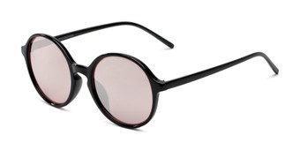 Angle of Cece in Black Frame with Pink Mirrored Lenses, Women's Round Sunglasses