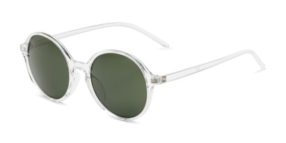 Angle of Cece in Clear Frame with Green Lenses, Women's Round Sunglasses