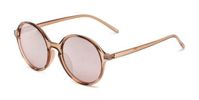 Angle of Cece in Crystal Pink Frame with Pink Mirrored Lenses, Women's Round Sunglasses