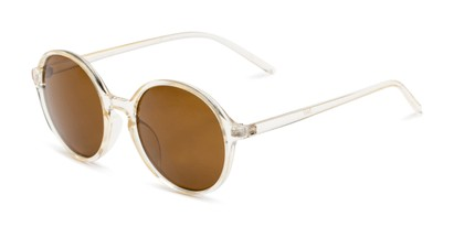 Angle of Cece in Crystal Tan Frame with Amber Lenses, Women's Round Sunglasses