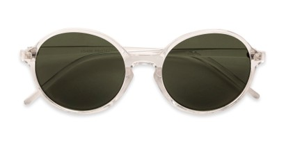 Folded of Cece in Clear Frame with Green Lenses