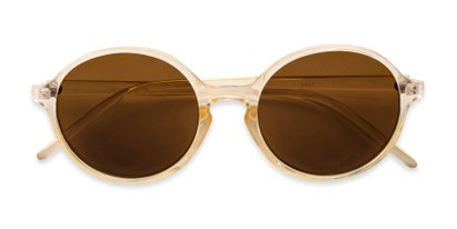 Folded of Cece in Crystal Tan Frame with Amber Lenses
