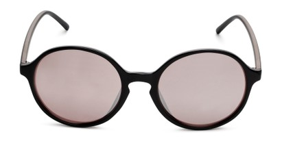 Front of Cece in Black Frame with Pink Mirrored Lenses