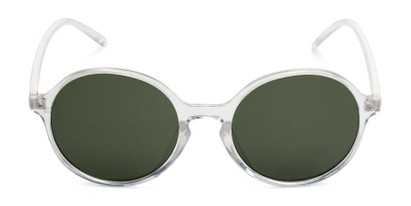 Front of Cece in Clear Frame with Green Lenses