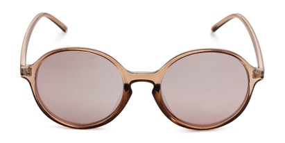 Front of Cece in Crystal Pink Frame with Pink Mirrored Lenses