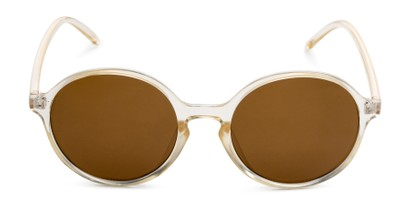Front of Cece in Crystal Tan Frame with Amber Lenses