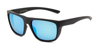 Angle of Charles in Matte Black Frame with Blue Mirrored Lenses, Men's Square Sunglasses