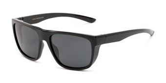 Angle of Charles in Glossy Black Frame with Smoke Lenses, Men's Square Sunglasses