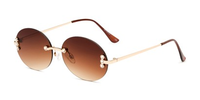 Angle of Chastain in Gold Frame with Amber Gradient Lenses, Women's Round Sunglasses