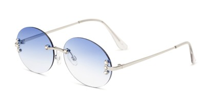 Angle of Chastain in Silver Frame with Blue Gradient Lenses, Women's Round Sunglasses