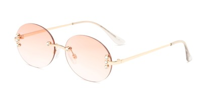 Angle of Chastain in Gold Frame with Pink Gradient Lenses, Women's Round Sunglasses
