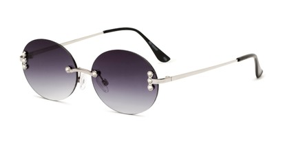 Angle of Chastain in Silver Frame with Smoke Gradient Lenses, Women's Round Sunglasses