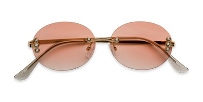 Folded of Chastain in Gold Frame with Pink Gradient Lenses