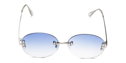 Front of Chastain in Silver Frame with Blue Gradient Lenses