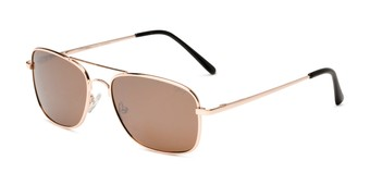Angle of Coleman in Gold Frame with Amber Lenses, Women's and Men's Aviator Sunglasses