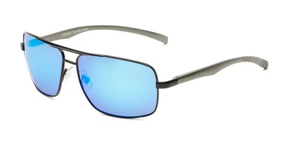 Angle of Connor in Black Frame with Blue Mirrored Lenses, Men's Aviator Sunglasses