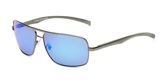 Angle of Connor in Grey Frame with Blue Mirrored Lenses, Men's Aviator Sunglasses