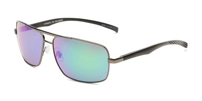 Angle of Connor in Grey Frame with Blue/Green Mirrored Lenses, Men's Aviator Sunglasses