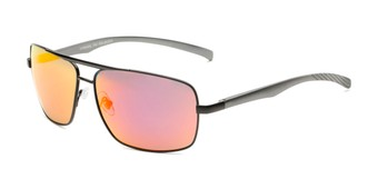 Angle of Connor in Black Frame with Red/Orange Mirrored Lenses, Men's Aviator Sunglasses