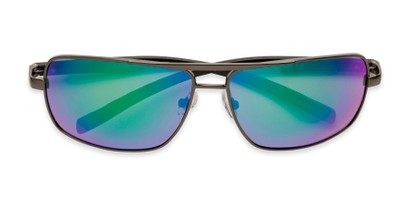 Folded of Connor in Grey Frame with Blue/Green Mirrored Lenses