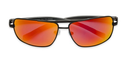 Folded of Connor in Black Frame with Red/Orange Mirrored Lenses