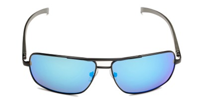 Front of Connor in Black Frame with Blue Mirrored Lenses