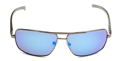 Front of Connor in Grey Frame with Blue Mirrored Lenses