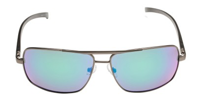 Front of Connor in Grey Frame with Blue/Green Mirrored Lenses