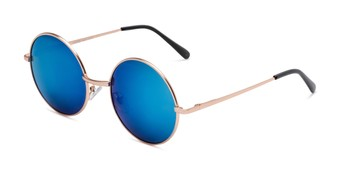 Angle of Coraline in Gold Frame with Blue Mirrored Lenses, Women's Round Sunglasses