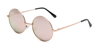 Angle of Coraline in Rose Gold Frame with Pink Mirrored Lenses, Women's Round Sunglasses