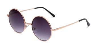 Angle of Coraline in Gold Frame with Smoke Gradient Lenses, Women's Round Sunglasses