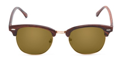 Front of Damien in Brown Frame with Gold Mirrored Lenses