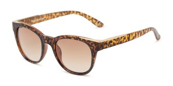 Angle of Dana by Foster Grant in Tortoise/Gold Frame with Amber Gradient Lenses, Women's Cat Eye Sunglasses