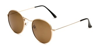 Angle of Dapper in Gold Frame with Amber Lenses, Women's and Men's Round Sunglasses