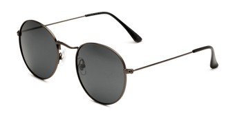 Angle of Dapper in Black Frame with Smoke Lenses, Women's and Men's Round Sunglasses