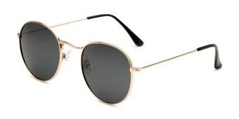 Angle of Dapper in Gold Frame with Smoke Lenses, Women's and Men's Round Sunglasses