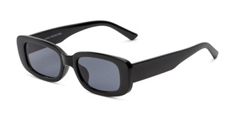 Angle of Darcy in Black Frame with Smoke Lenses, Women's Rectangle Sunglasses