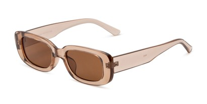 Angle of Darcy in Clear Brown with Brown Lenses, Women's Rectangle Sunglasses