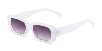 Angle of Darcy in Frosted White Frame with Grey Gradient Lenses, Women's Rectangle Sunglasses