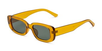 Angle of Darcy in Clear Yellow Frame with Green Lenses, Women's Rectangle Sunglasses