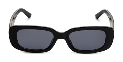 Front of Darcy in Black Frame with Smoke Lenses