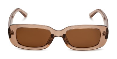 Front of Darcy in Clear Brown with Brown Lenses