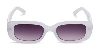 Front of Darcy in Frosted White Frame with Grey Gradient Lenses