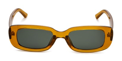 Front of Darcy in Clear Yellow Frame with Green Lenses